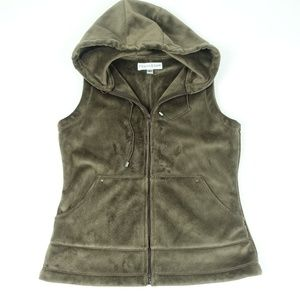 Hooded Super soft Brown Faux Fur Fleece Vest
